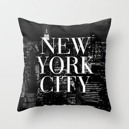 New York City Vogue Typography Manhattan Skyline Throw Pillow