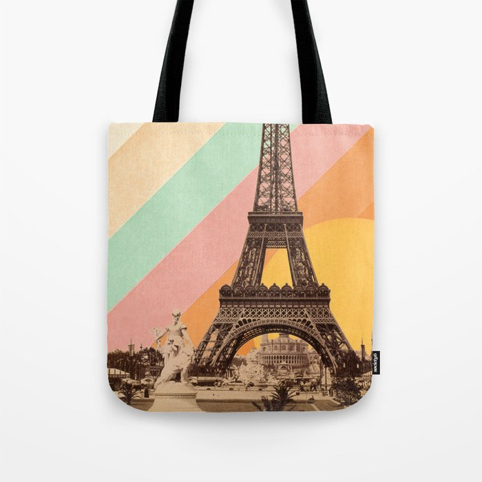 Rainbow Sky Above The Eiffel Tower Tote Bag