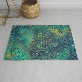 Flower of life Marble and gold Rug