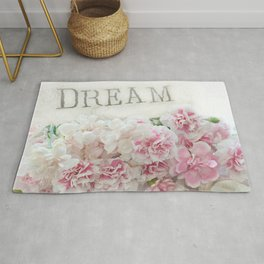 Dreamy Pink Roses Floral Print - Romantic Shabby Chic Dream Floral Home Decor Rug