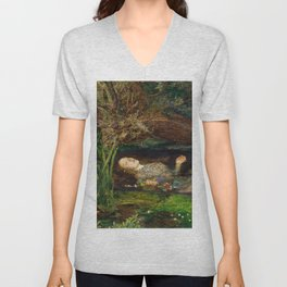 Ophelia Brick Wall Painting by Sir John Everett Millais Unisex V-Neck