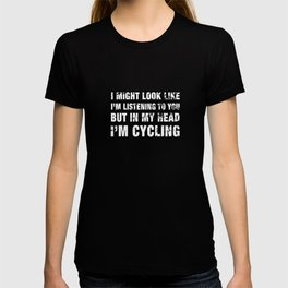 Funny Cycling print Distressed White Text graphic T-shirt