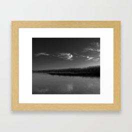 Winter Lake in Black and White Framed Art Print