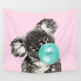 Playful Koala Bear with Bubble Gum in Pink Wall Tapestry