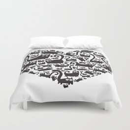 Cute heart made from cats Duvet Cover