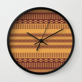 Geometric Motif Ethnic Pattern Mosaic Golden Wall Clock