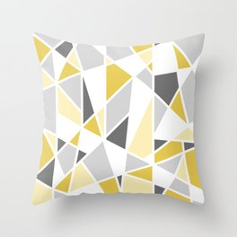 Geometric Pattern in yellow and gray Throw Pillow