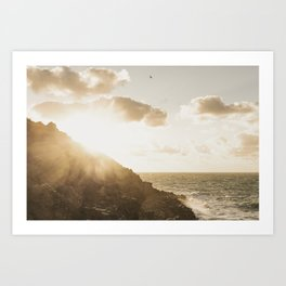 Autumn Sunshine, Pentire, Newquay, Cornwall. Art Print