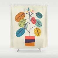 plant Shower Curtains featuring Potted plant 2 by Picomodi