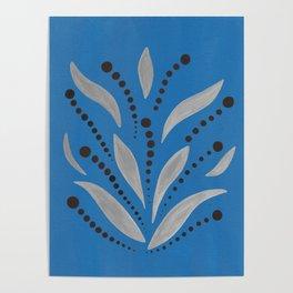 Silver Leafs – Blue Bell – Scandinavian Folk Art Poster