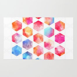 Radiant Hexagons - geometric watercolor painting Rug