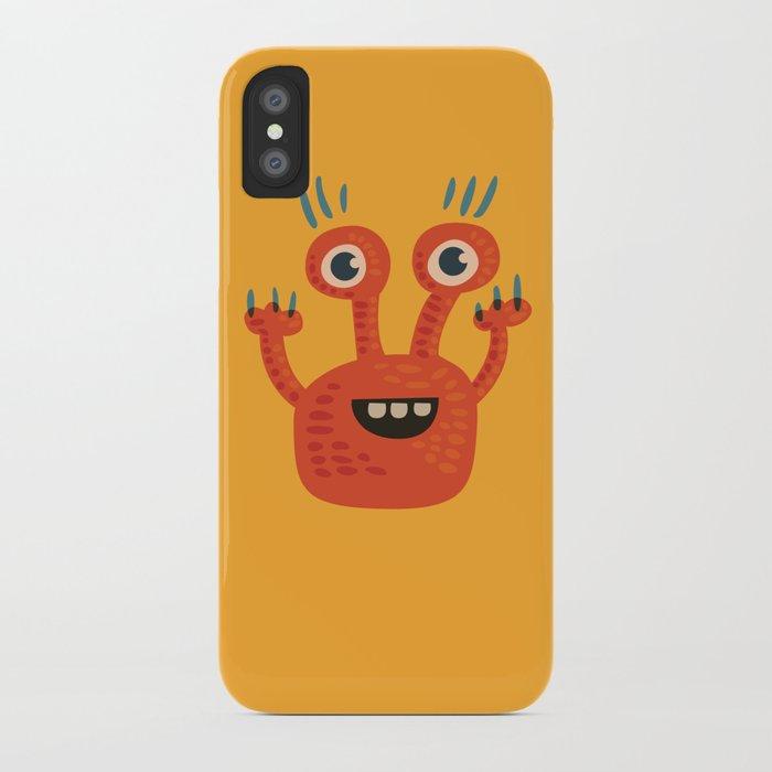 Funny Orange Monster Is Happy iPhone Case