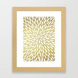 White Leaves on Gold Framed Art Print