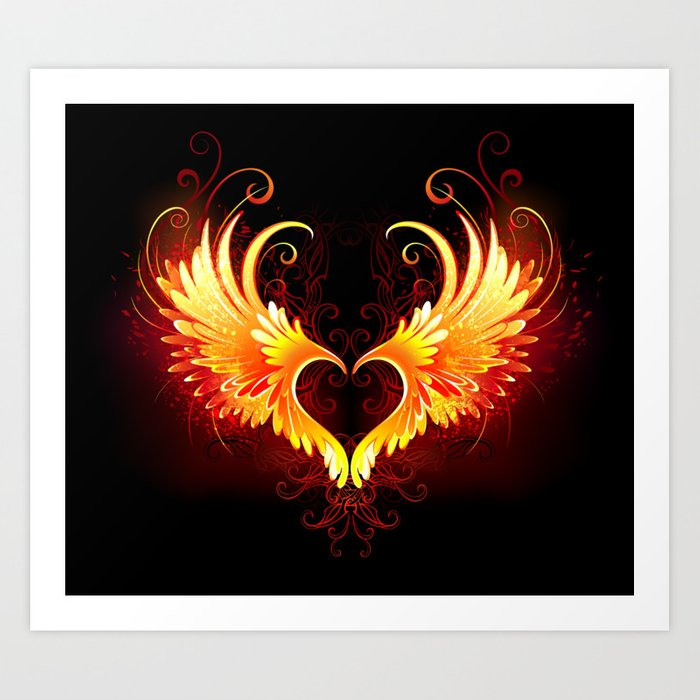 Angel Fire Heart With Wings Art Print By Blackmoon9 Society6