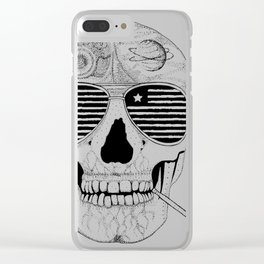 10445 Gonzo skull smoking Clear iPhone Case