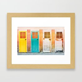 Colorful wooden doors with a vintage flare filter applied to the image Framed Art Print
