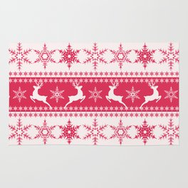 Christmas red and white pattern with decorative bands. Rug