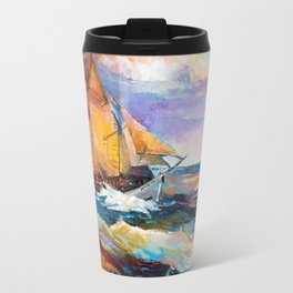 Fishing boats in the sea at sunset Travel Mug