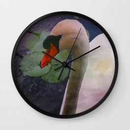 Mute Swan - Water Color Wall Clock
