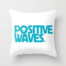 Positive Waves (Blue) Throw Pillow