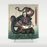 poe Shower Curtains featuring Samurai Poe by QStar