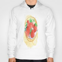 strawberry Hoodies featuring strawberry by Ayşe Sezaver