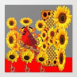 MODERN ABSTRACT RED CARDINAL YELLOW SUNFLOWERS GREY ART Canvas Print