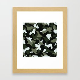 Green White camo camouflage army pattern Framed Art Print
