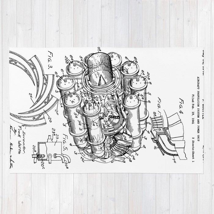 Jet Engine Frank Whittle Turbojet Engine Patent Rug By