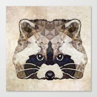 racoon Canvas Prints featuring Racoon by Ancello