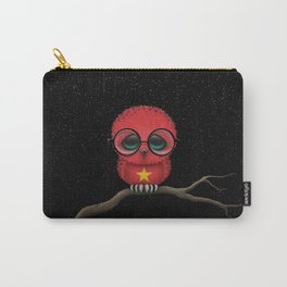 Baby Owl with Glasses and Vietnamese Flag Carry-All Pouch
