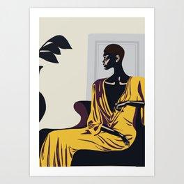 Yellow robe Art Print