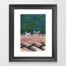 Curious cats Framed Art Print