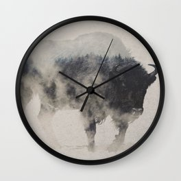 Bison In The Fog Wall Clock
