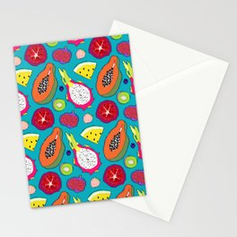 Seedy Fruits in Teal Blue Stationery Cards
