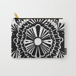 Black Lace Peony Carry-All Pouch