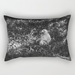 Black and White photo of African White Baboon Rectangular Pillow