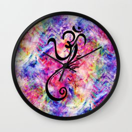 Tie Dye Color Chaos with Om Symbol making Ganesha Wall Clock