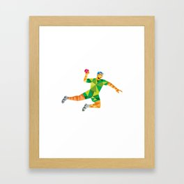 Handball Player Jumping Throwing Ball Low Polygon Framed Art Print