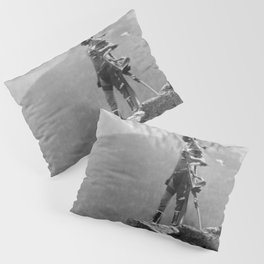 Eagle's Lookout, Blackfoot tribe members, Glacier Park, Montana, 1913 black and white photography Pillow Sham