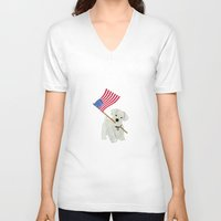 westie V-neck T-shirts featuring Original Paper Cutting of Westie With American Flag by Carrie McFerron