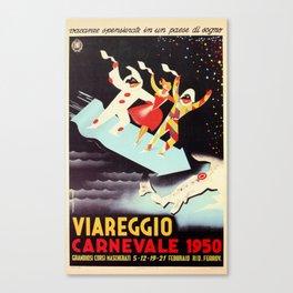 Vintage Viareggio carnival Italian travel ad  Canvas Print