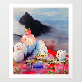 Couple Looking at Mountain Art Print