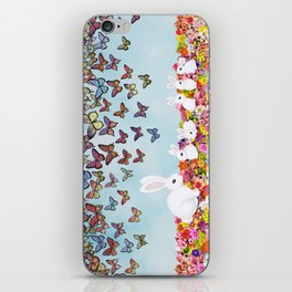 bunnies, flowers, and butterflies iPhone Skin