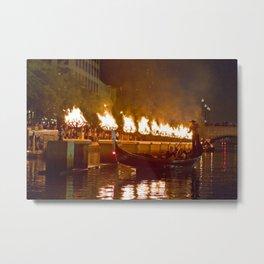 Venetian Gondola on Providence River - Waterfire Providence, Rhode Island Metal Print