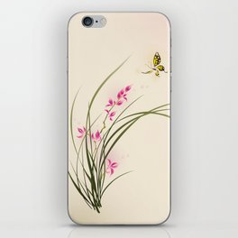 Oriental style painting - orchid flowers and butterfly 004 iPhone Skin