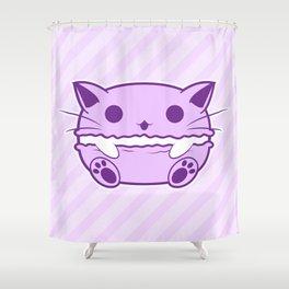 Purple Kawaii Cat Macaroon Shower Curtain
