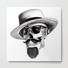 Hipster Skull in Black and White Metal Print