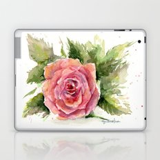 Red Rose Watercolor Pink Rose Flower Floral Art Laptop & iPad Skin