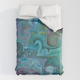 Amazon Currents - Abstract Acrylic Art by Fluid Nature Comforters